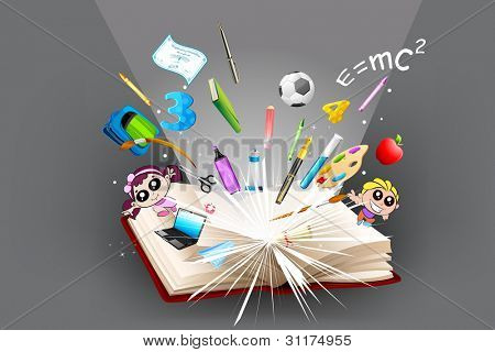 illustration of school object popping out from open book