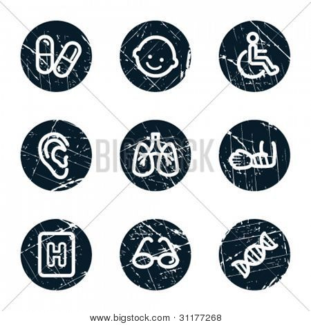 Medicine web icons set 2, grunge circle buttons