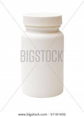 White Plastic Bottle Of Medicine