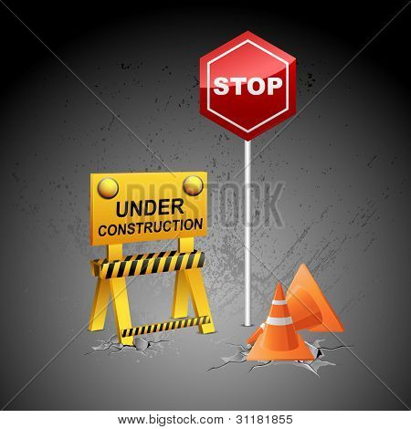 illustration of under construction background with stopper and post