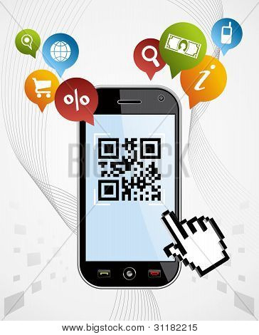 Smart Phone: Qr Code Application Vector Illustration