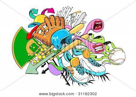 Ilustración del objeto de béisbol en estilo colorido doodle