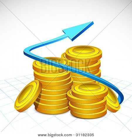 illustration of arrow around stack of gold coin