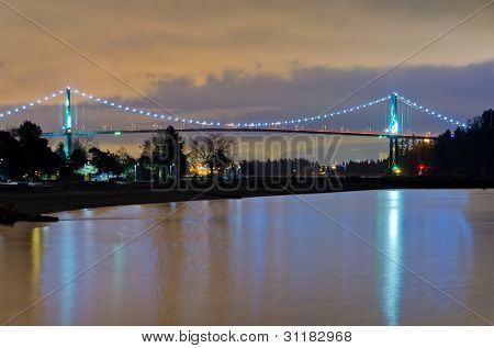 Night view of Lion's Gate bridge in Vancouver, Canada.