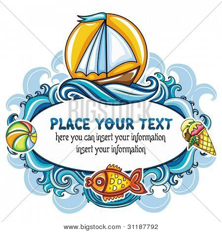 Beautiful summer mood frame featuring sea world, curly blue waves, bright sun, sail boat, goldfish, colorful ball and ice-cream
