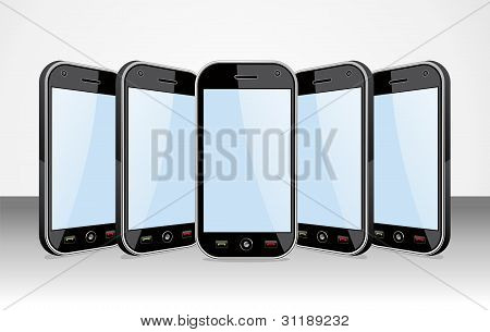 Set Of Smartphones Templates On White