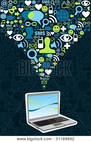 Computer Connected To Social Networks