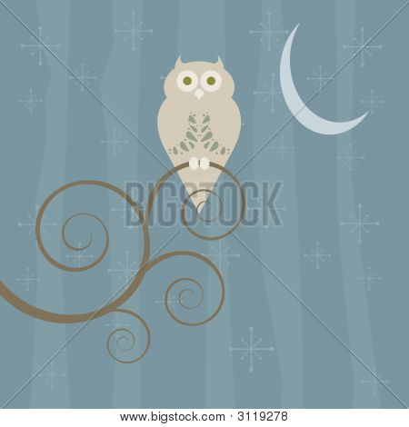 Retro Owl On A Moonlit Night