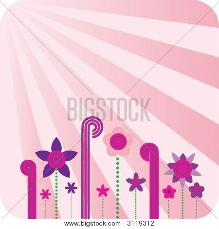 Pink Floral Retro Wallpaper