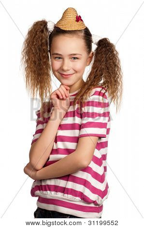 Portrait of girl giving you thumbs up isolated on white background