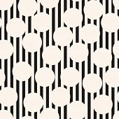 Vector Monochrome Seamless Pattern. Black And White Texture With Stripes, Lines, Circles. Op Art Sty poster