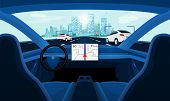 Autonomous Smart Driverless Car Self Driving. Car Interior Dashboard View On Road poster