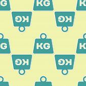 Green Weight Icon Isolated Seamless Pattern On Yellow Background. Kilogram Weight Block For Weight L poster