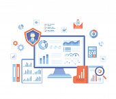 Business Data Reporting, Consulting, Analytics, Credit Report, Accounting. Graphs And Charts On The  poster