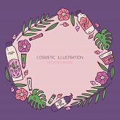 Vector Template With A Frame - Set Organic Cosmetics. Handmade Cosmetics. Hand-drawn Spa And Aromath poster