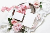 Feminine Wedding, Birthday Mock-up Scene. Blank Paper Greeting Cards, Envelope, Eucalyptus, Pink Ros poster