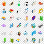 College Book Icons Set. Isometric Style Of 36 College Book Icons For Web For Any Design poster