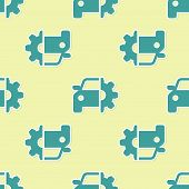 Green Car Service Icon Isolated Seamless Pattern On Yellow Background. Auto Mechanic Service. Mechan poster