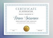Classic Certificate Award Template Design Vector Illustration poster