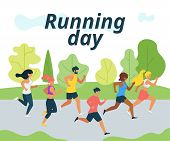Running Day Flat Vector Illustration. Cartoon Characters Jogging In City Park. People Training For M poster
