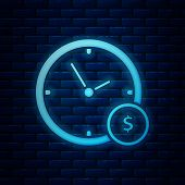 Glowing Neon Time Is Money Icon Isolated On Brick Wall Background. Money Is Time. Effective Time Man poster