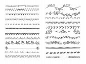 Hand Drawn Lines. Web Dividers Hatching Pencil Scribble Vector Underlines. Set Of Underline Drawn, S poster