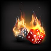 stock photo of dice  - vector burning dice on dark background - JPG