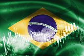Brazil Flag, Stock Market, Exchange Economy And Trade, Oil Production, Container Ship In Export And  poster