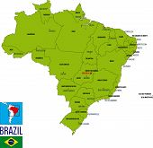 Political Map Of Brazil With Regions And Their Capitals poster