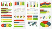 Infographics Elements. Info Charts, Diagrams And Graphs. Flowchart And Timeline For Business Report  poster