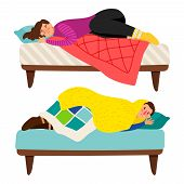Depressed Woman And Man In Bed - Depression Vector Concept. Illustration Of Woman And Man Depression poster