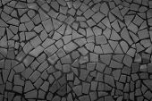 Broken Tiles Mosaic Seamless Pattern. Black Dark Tile Real Wall High Resolution Photo Or Brick Seaml poster