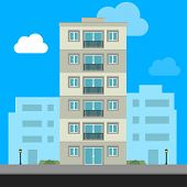 Buildings Icon And Office Icon - Illustration Stock Illustration Apartment Vector Isolated. Office B poster