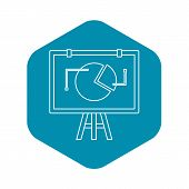 Flip Chart With Statistics Icon. Outline Illustration Of Flip Chart With Statistics Icon For Web poster