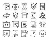 Legal Documents Icon. Law And Justice Line Icon Set. Editable Stroke. poster