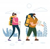 Tourists Cute Couple With Map And Backpacks Performing Outdoor Touristic Activity. Adventure Travel, poster