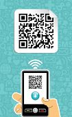 stock photo of qr-code  - Hand with mobile phone scans the QR code on blue background - JPG