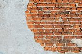 Old Red Brick Wall. Brick Wall With Concrete Elements.  Red Brick. Stone Wall. Textures Brick Wall. poster