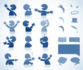 Set of talking characters in various postures - perfect for infographics or comics