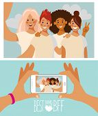 Group Of Four Girls Friends Taking A Photo With A Smartphone. Taking A Selfie. Friendship Concept. S poster