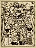 Bear. Mystic Concept For Lenormand Oracle Tarot Card. Vector Engraved Illustration. Fantasy Line Art poster