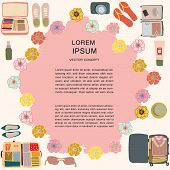 Textured Background With Top View Flat Lay Suitcase. Space For Text. poster