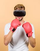 Cyber Coach Online Training. Cyber Sportsman Boxing Gloves. Augmented 3d World. Man Boxer Virtual Re poster