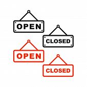 Open And Closed Icon Vector Isolated On White Background From Mall Collection. Open And Closed Icon  poster
