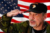 foto of veterans  - Close up of a Vietnam veteran saluting in front of a United States flag - JPG