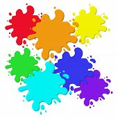 Bright Abstract Blots, Splash Fluid. Stain With Splashes Liquid. Vector Illustration Isolated On Whi poster