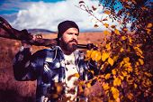 Hunter With Shotgun Gun On Hunt. Autumn Hunting Season. Autunm Hunting. Hunting Licenses. Bearded Hu poster