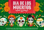 Day Of Dead Mexican Dia De Los Muertos Party Poster Of Woman With Calavera Skull Pattern. Vector Dia poster