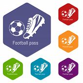 Football Pass Icons Colorful Hexahedron Set Collection Isolated On White poster