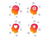 Head With Brain And Idea Lamp Bulb Icons. Male Human Think Symbols. Cogwheel Gears Signs. Love Heart poster